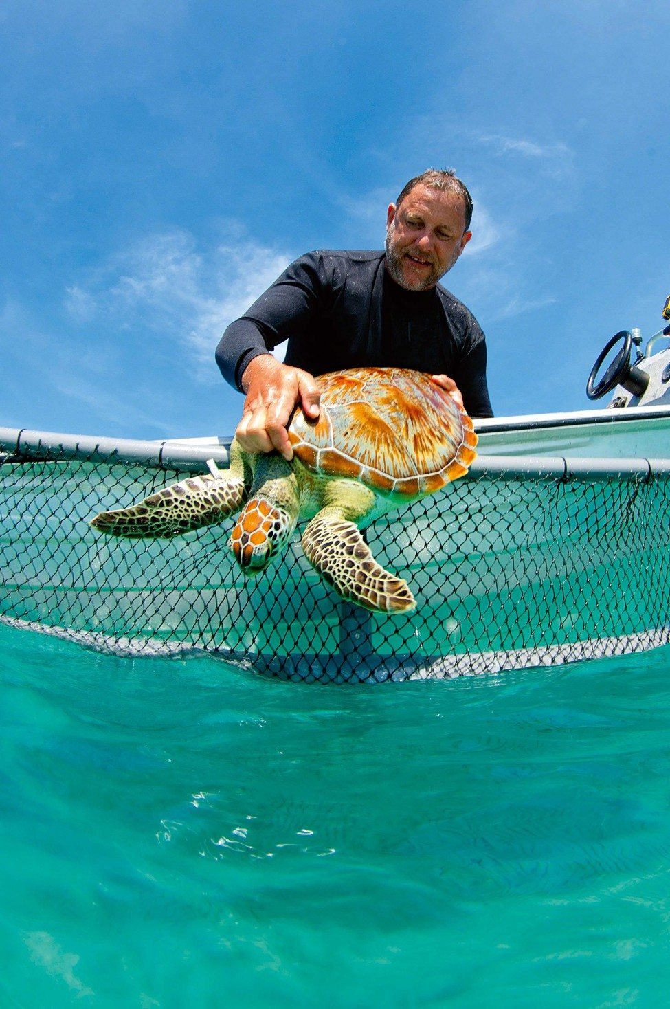For the past two decades, Nick Pilcher has been working with turtles in Malaysia, encouraging fishers to equip their nets with Turtle Excluder Devices that will help them to avoid catching these gentle marine reptiles.<br /> Photo by Gilbert Woolley