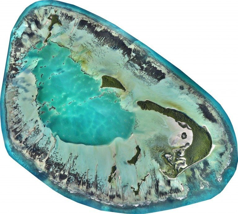This high-resolution map is a composite of thousands of images captured with drones flying simultaneously. The St Joseph Atoll at high tide. © Drone Adventures for the Save Our Seas Foundation Copyright 2015