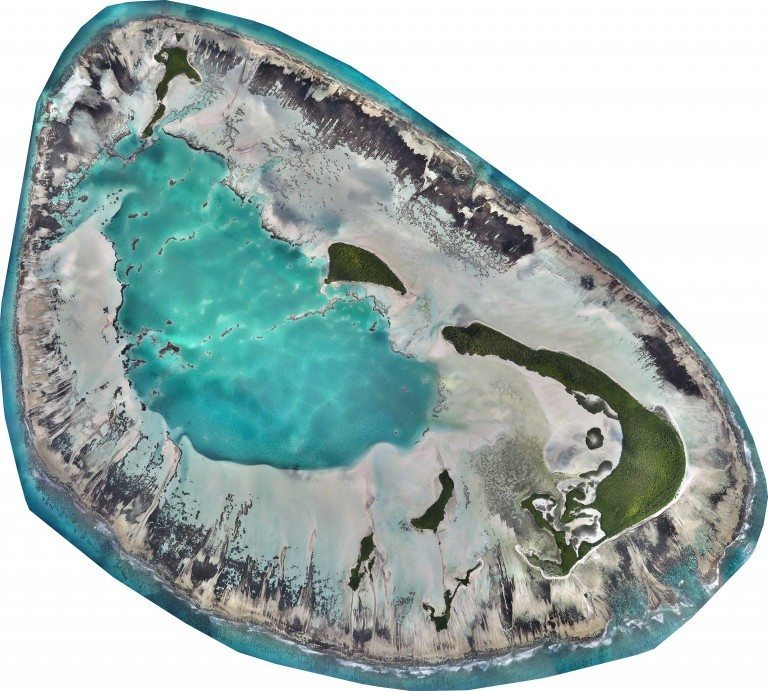 This high-resolution map is a composite of thousands of images captured with drones flying simultaneously. The St Joseph Atoll at low tide. © Drone Adventures for the Save Our Seas Foundation Copyright 2015