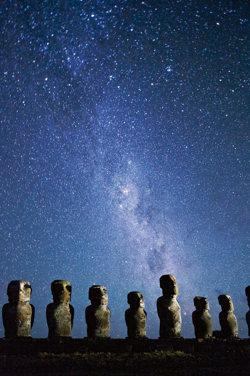 The ancient Polynesian mariners who first colonised Rapa Nui were celestial navigators, forging a route across the Pacific guided by the stars that light the night skies. Today, international flights and modern seafaring make Rapa Nui infinitely more reachable, but the region remains a challenging place for scientists to work in.<br /> Photo by Jim Richardson | National Geographic Creative