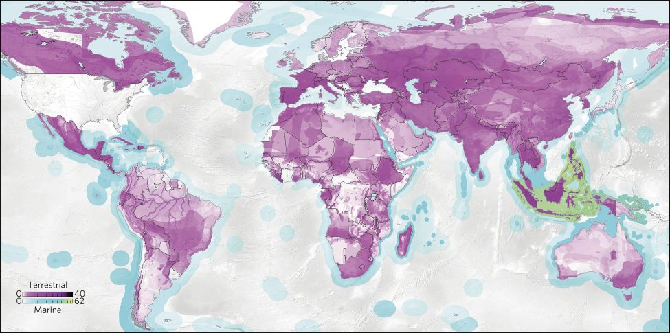 Global hotspots of species threat linked to consumption in the United States. Darker areas indicate areas of threat hotspots driven by US consumption, based on the mix of threats exerted in each country and the mix of export goods sent to the United States for final consumption. Terrestrial and marine species colour bars are on log scales showing units of total species-equivalents, which is the sum over all the fraction of species threats allocated to this consumer country. <br /> ©Nature Publishing Group  Nature Ecology & Evolution   Daniel Moran and Keiichiro Kanemoto