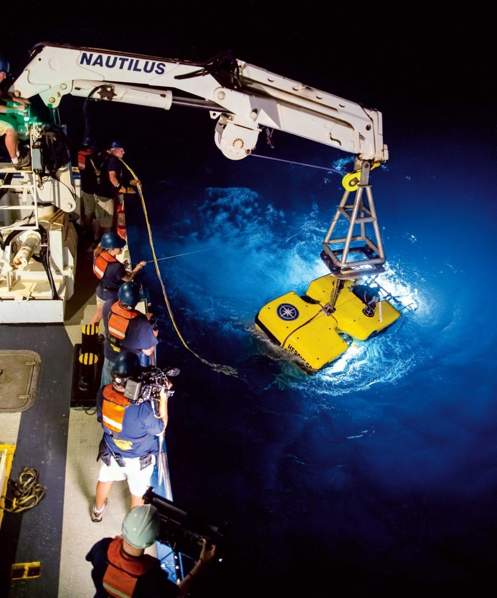 The remotely operated underwater vehicle (ROV) Hercules allows scientists to film the sea floor thousands of metres below the surface. Piloted by technicians aboard the research vessel, cameras can more easily venture into habitats that would endanger researchers.<br />